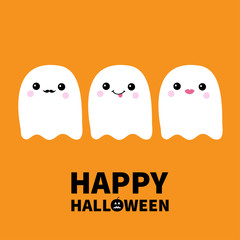 Happy Halloween.Three flying ghost spirit set showing tongue, moustaches, lips. Boo. Scary white ghosts. Cute cartoon spooky character. Smiling face, cheeks. Orange background Flat design.