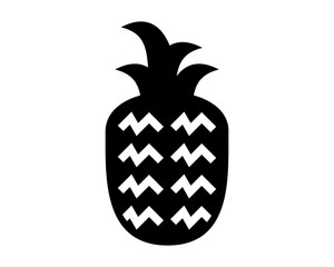 black pineapple fruit silhouette image vector icon logo symbol