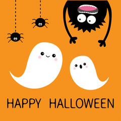 Happy Halloween card. Two flying ghost spirit. Monster head silhouette. Eyes, hands. Hanging upside down. Black spider dash line. Flat design Funny Cute cartoon baby character Orange background