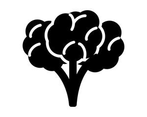 black Broccoli silhouette image vector icon logo symbol