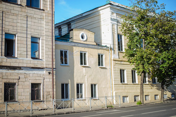 Russia, Kazan, August 10, 2018: houses on Karl Marx street in the city center