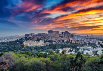View on Acropolis in Athens, Greece, at sunrise. Scenic travel background with dramatic sky.