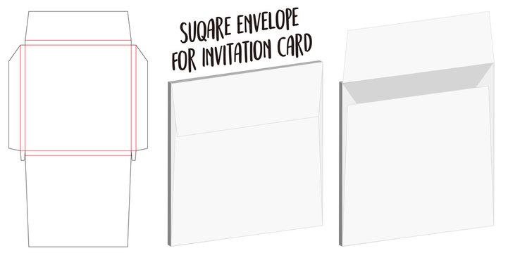 square envelope for invitation card dieline mockup
