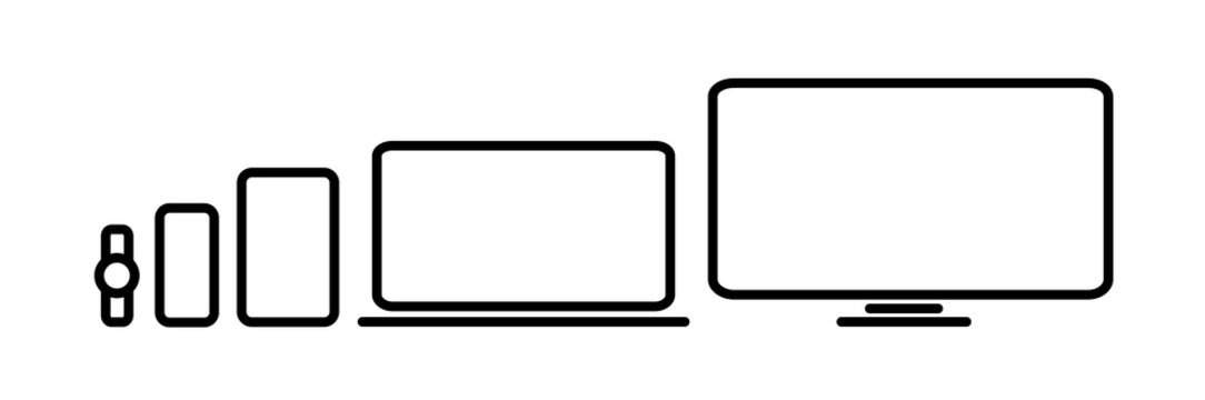 Device Icons vector linear illustration of responsive design for presentation and mockup