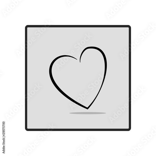 Heart in gray square card on white background symbol linked join heart in gray square card on white background symbol linked join love junglespirit Choice Image