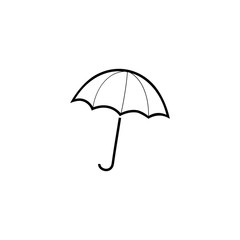 Umbrella sign. Romantic icon health isolated. Design element. Monochrome symbol of rain. Template for t, apparel, card, poster, etc. Vector illustration.