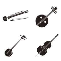 4種類の弦楽器シルエット