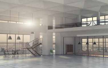 The modern spacious office interior. 3D render