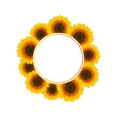 Orange Yellow Sunflower Banner Wreath
