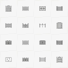 Fences And Wickets line icon set with fence, gate and wicket