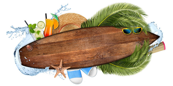 beach summer cocktail bar concept tourism background empty wooden surfboard with copy space coco palm water splash straw hat and seastar isolated on white
