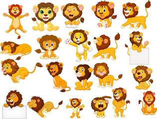Cartoon lions collection set
