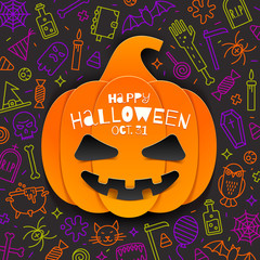 Jack-o-lantern pumpkin cutout from paper on a background with linear halloween signs and symbols. Vector illustration,