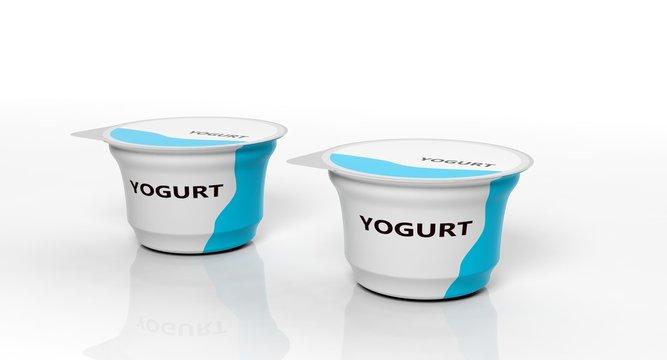 Two yogurts isolated on white background. 3d illustration