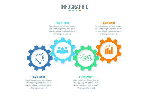 Business infographic template with 4 options gear shape, Abstract elements diagram or processes and business flat icon, Vector business template for presentation.Creative concept for infographic.