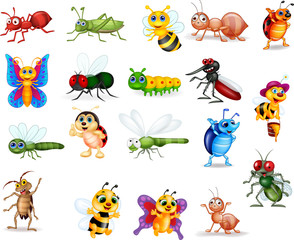 Cartoon insects collection set