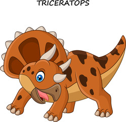 Cartoon Triceratops isolated on white background