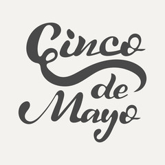 Cinco de Mayo hand lettering. Elegance calligraphic dark inscriptions isolated on white background. Vector illustration.