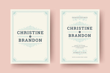 Wedding save the date invitation cards flourishes ornaments.