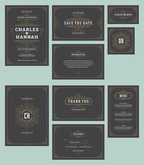 Set wedding invitations cards flourishes ornaments.