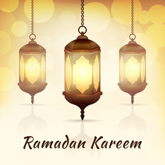 Ramadan Kareem - greeting card with islamic lanterns on yellow bokeh background for Muslim Community festival. Bright arabic lamps. Graphic design element for invitation, flyer. Vector illustration.