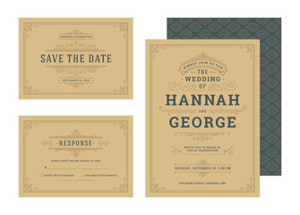 Set wedding invitations flourishes ornaments cards.