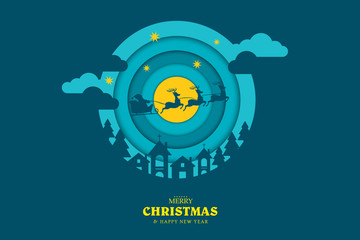 Merry Christmas and Happy New Year. Christmas composition in paper art and digital craft style. Background for covers, invitations, posters, banners, flyers, placards . Vector illustration EPS10.