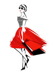 fashionable young woman with shopping bags vector design