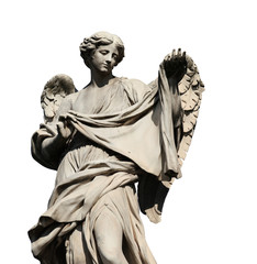 Angel statue holding the Holy Veil on Sant'Angelo Bridge in Rome,  a 17th century baroque masterpiece (isolated on white background)