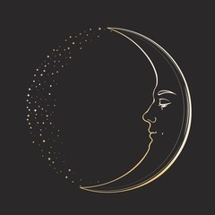 Waxing Crescent Moon with a face of handsome young man. Hand drawn vector illustration in vintage style, golden on dark background