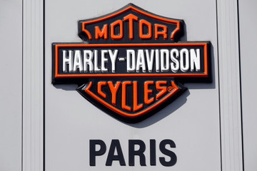 The logo of U.S. motorcycle company Harley-Davidson is seen at a shop in Paris