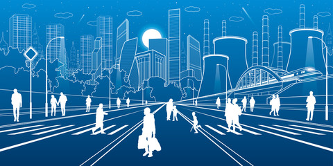 Urban City Infrastructure Illustration. People walking at street. Modern town. Train move on bridge. Illuminated highway. Factory thermal power plant. White lines on blue background. Vector design art