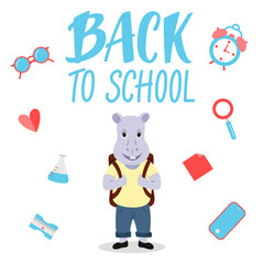Cute hippopotamus character for Back to school banner/poster concept.