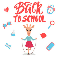 Cute giraffe character for Back to school banner/poster concept.