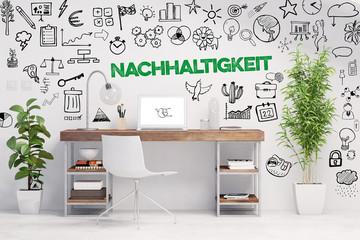 Nachhaltigkeit Konzept mit Schreibtisch und Slogan