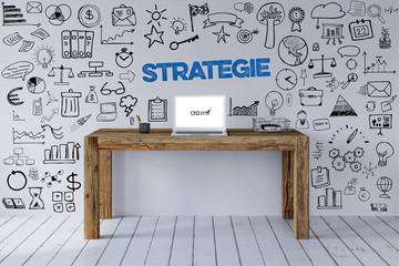 Strategie Slogan an Arbeitsplatz als Konzept