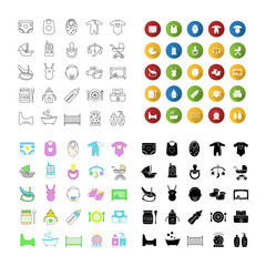 Childcare icons set