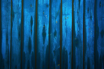 Blue wooden fence for presentations