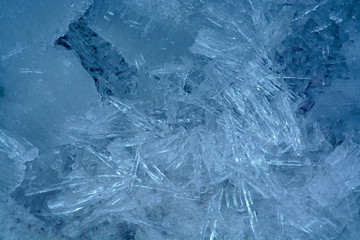 ice crystals on the winter river