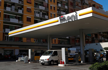 The logo of Italian energy company Eni is seen at a gas station in Rome