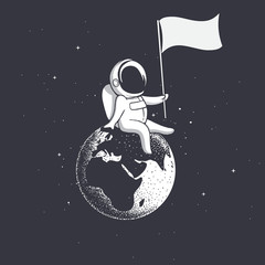 Astronaut, sitting on the Earth, holds a flag.Space vector illustration