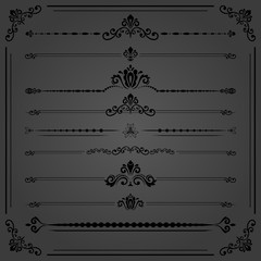 Vintage set of vector decorative elements. Horizontal separators in the frame. Collection of different ornaments. Classic patterns. Set of black vintage patterns