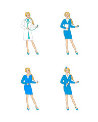 Set of 4 images of girls of different professions: doctor, Secretary,teacher,stewardess.
