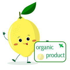 A cute lemon cartoon character holds a plate of organic foods.