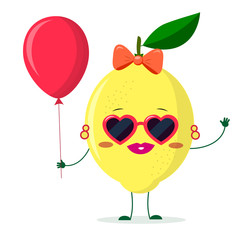 Cute lemon cartoon character sunglasses hearts, bow and earrings. Holds a red air balloon.