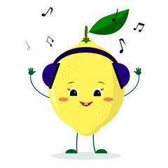 A cute lemon character in cartoon style listening to music on headphones.