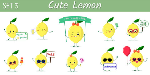 A set of ten cute lemon characters in different poses and accessories in cartoon style.