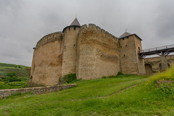 View of the fortress walls of the fortress Khotyn. Ukraine