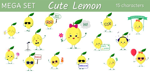 Mega set of fifteen lemons character in different poses and accessories in cartoon style.