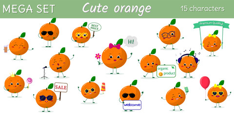 Mega set of fifteen oranges character in different poses and accessories in cartoon style.